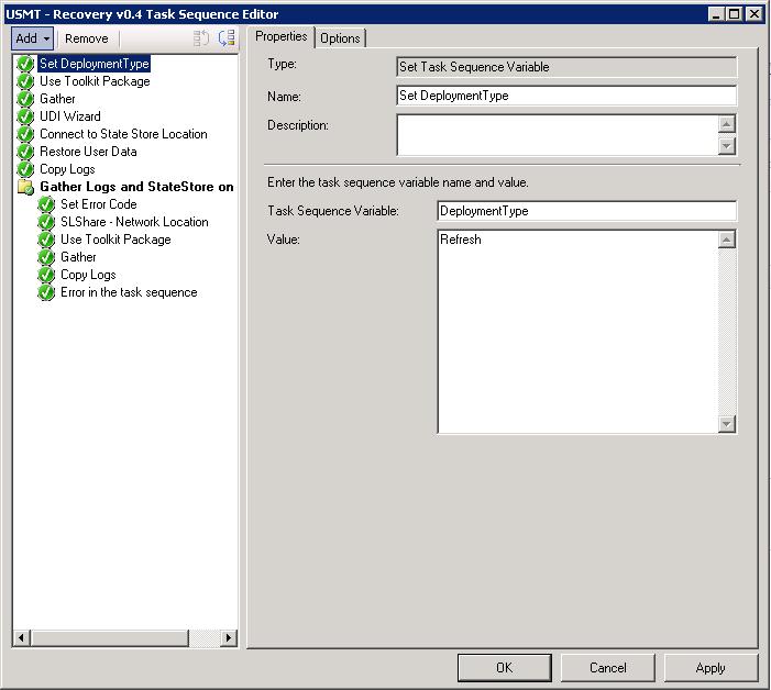 MDT UDI Task Sequence: Restore USMT migration using Computer